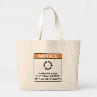 Gamer Master / Argue Large Tote Bag
