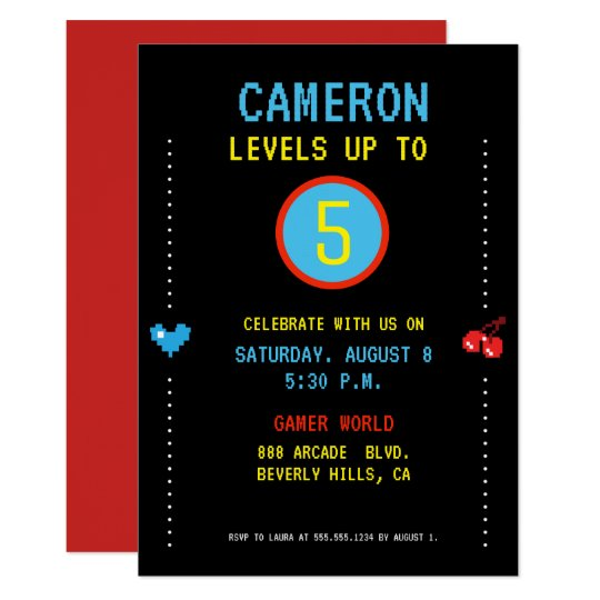 Gamer Pixel Arcade Level Up Birthday Invitation