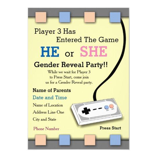 Gamer player 3 baby shower gender reveal invite zazzle gamer player 3 baby shower gender reveal invite filmwisefo