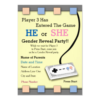 "Gamer Player 3 Baby Shower Invite 5"" X 7"" Invitation Card"