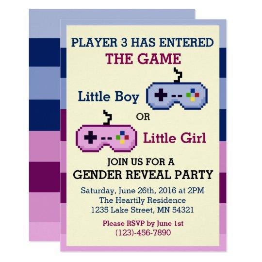 Gamer player 3 gender reveal baby shower invite zazzle gamer player 3 gender reveal baby shower invite filmwisefo