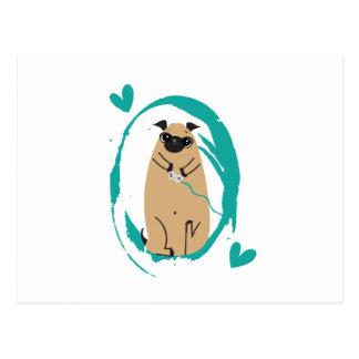Gamer Pug Postcard
