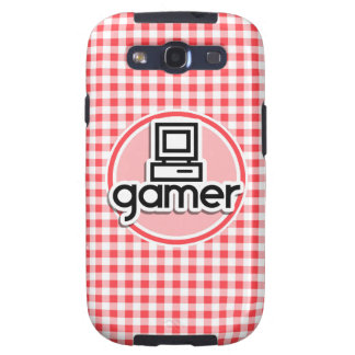 Gamer; Red and White Gingham Galaxy S3 Covers