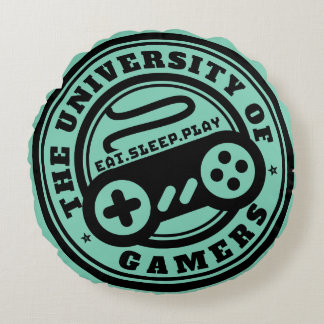 Gamer Round Pillow University of Gamers Seal