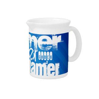 Gamer; Royal Blue Stripes Beverage Pitcher