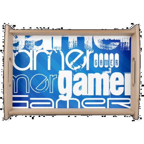 Gamer; Royal Blue Stripes Serving Platters