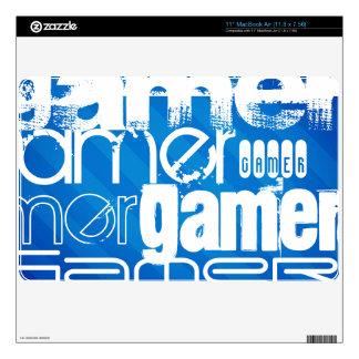 "Gamer; Royal Blue Stripes 11"" MacBook Air Skins"