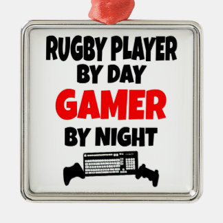 Gamer Rugby Player Metal Ornament
