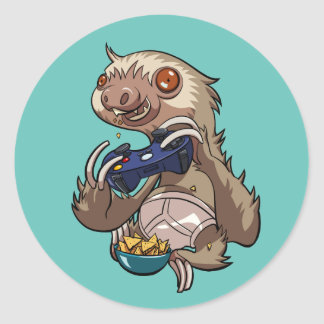 Gamer Sloth Eating Nachos in Underpants Cartoon Classic Round Sticker