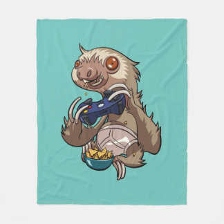 Gamer Sloth Eating Nachos in Underpants Cartoon Fleece Blanket