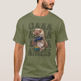 Gamer Sloth Eating Nachos in Underpants Cartoon T-Shirt