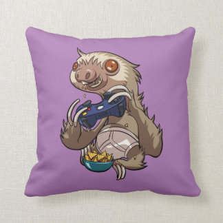 Gamer Sloth Eating Nachos in Underpants Cartoon Throw Pillow