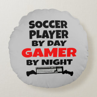 Gamer Soccer Player Round Pillow