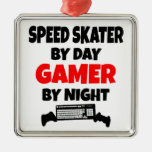 Gamer Speed Skater Square Metal Christmas Ornament