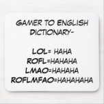Gamer to English Dictionary Mouse Mat