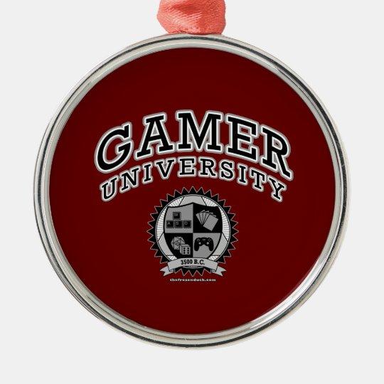 Gamer University (Black & White) Metal Ornament