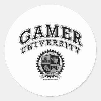 Gamer University (Black & White) Round Stickers