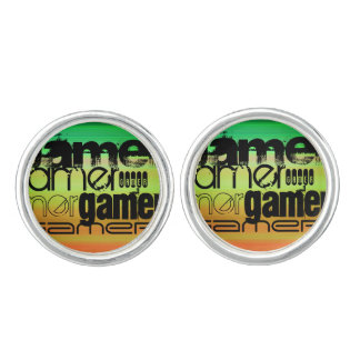 Gamer; Vibrant Green, Orange, & Yellow Cufflinks