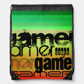 Gamer; Vibrant Green, Orange, & Yellow Drawstring Backpack