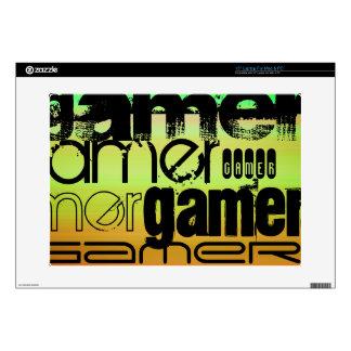 Gamer; Vibrant Green, Orange, & Yellow Laptop Skin