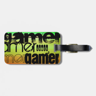 Gamer; Vibrant Green, Orange, & Yellow Luggage Tag