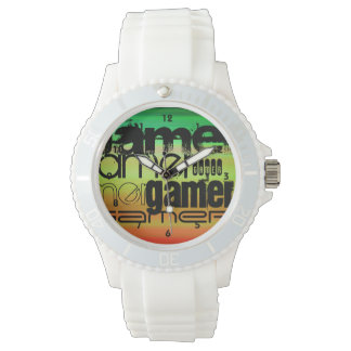 Gamer; Vibrant Green, Orange, & Yellow Wrist Watch
