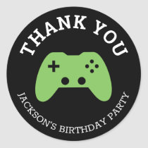 Gamer Video Game Party Thank You Personalized Classic Round Sticker