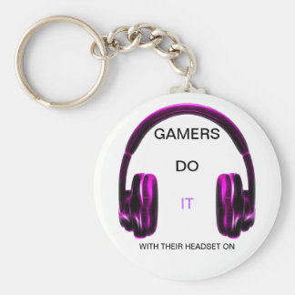 Gamers Do It.. With Their Headset On! - PINK Keychain