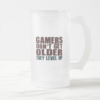 Gamers Don't Get Older... Frosted Glass Beer Mug