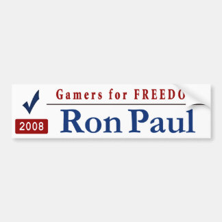 Gamers for Freedom - Vote Ron Paul Car Bumper Sticker