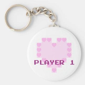 Gamers in Love - Player 1 Basic Round Button Keychain