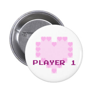 Gamers in Love - Player 1 2 Inch Round Button