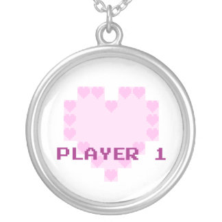 Gamers in Love - Player 1 Round Pendant Necklace