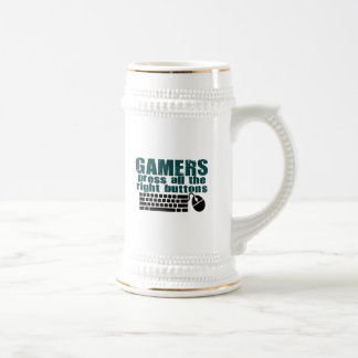 Gamers Press The Right Buttons 18 Oz Beer Stein