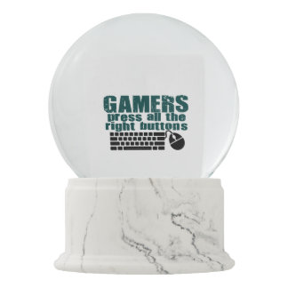 Gamers Press The Right Buttons Snow Globe