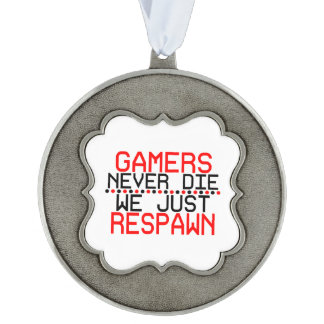 Gamers Respawn Scalloped Pewter Ornament