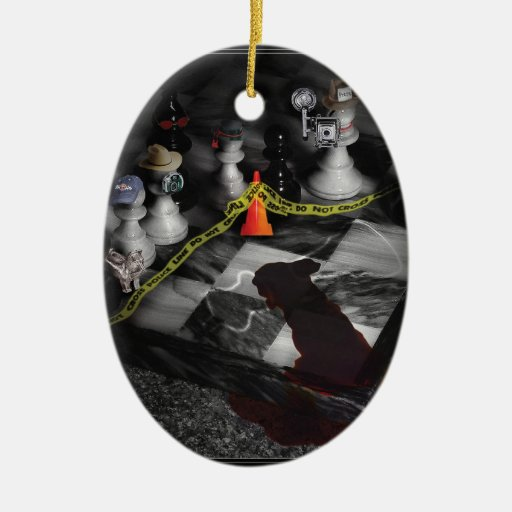 Games - Chess - It's only a Game Double-Sided Oval Ceramic Christmas Ornament