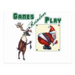 Games Reindeer Play Postcard