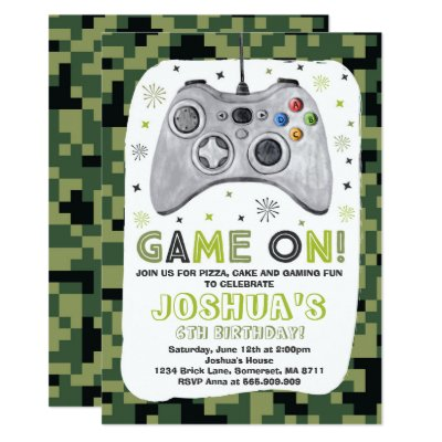 Video game birthday party invitations zazzle stopboris Image collections