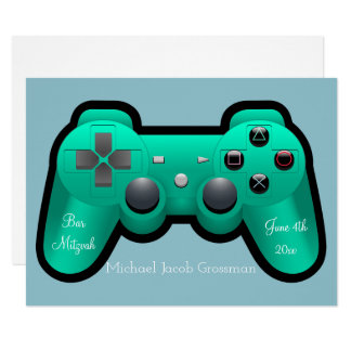 Gaming, Controller, Bar Mitzvah, Invitation