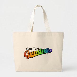 Gaming in Rainbow Colors, Add text Large Tote Bag