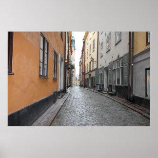 Gamla Stan, Stockholm, Sweden; Cobblestone Street Poster