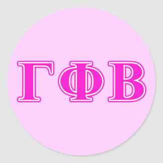 Gamma Phi Beta Bright Pink Letters Classic Round Sticker