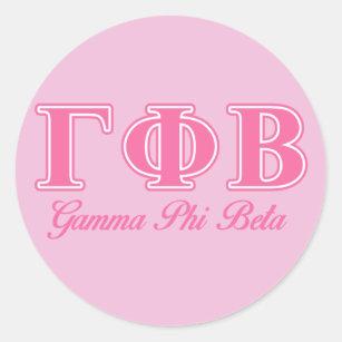 gamma phi beta pink letters classic round sticker