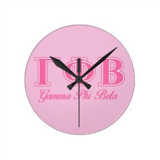 Gamma Phi Beta Pink Letters Round Clock