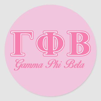 Gamma Phi Beta Pink Letters Round Stickers