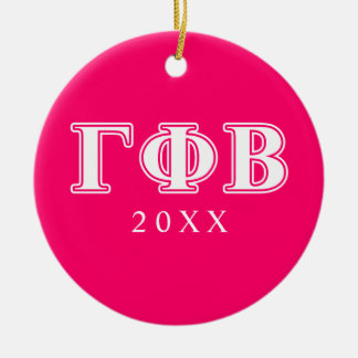 Gamma Phi Beta White and Pink Letters Ceramic Ornament