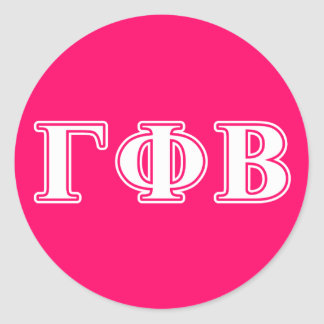 Gamma Phi Beta White and Pink Letters Classic Round Sticker