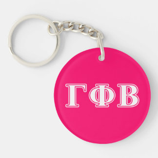 Gamma Phi Beta White and Pink Letters Keychain