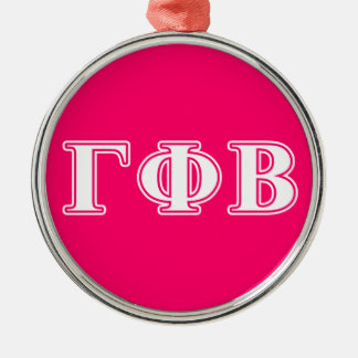 Gamma Phi Beta White and Pink Letters Metal Ornament